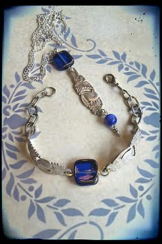 Handmade silver spoon and blue bracelet and pendant