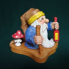 Woodcarving of a Troll. A Scandinavian Character of Folklore, Original one of a kind woodcarving with a staff and lantern, Collectable Wood Carving