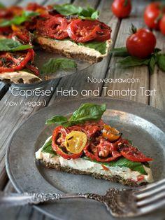 Caprese Herb and Tomato Tart (raw / vegan)