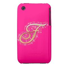 Gold & Diamonds Pink and Cute iPhone Case with Your Initial ''X''. Iphone 3 Cases, Pink Iphone, Tablets, Tech Accessories, Usb Flash Drive, Diamonds, I Phone Cases, Accessories, Initials