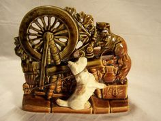 McCoy Pottery Co. Spinning Wheel and Scottie Dog Planter