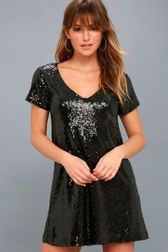 Shimmy and shine across the dance floor in the Light Up the Night Black Sequin Shift Dress! Sequins deck out this shift dress with a deep V-neck. Club Dresses, Sexy Dresses, Evening Dresses, Fashion Dresses, Short Sleeve Dresses, Formal Dresses, Party Dresses, Short Sleeves, Metallic Dress