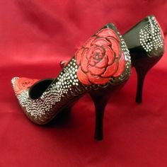 Shoes Wedding tattoo roses pheasant feathers black by norakaren, $225.00