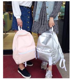 Silver Backpack Women Glossy Backpacks For Teenage Girls School Bags Holographic PU Leather Pink Students Bag mochila New Outfit Accessories From Touchy Style Cream Backpacks, Metallic Backpacks, Girl Backpacks, School Backpacks, Fashionable Backpacks For School, Trendy Backpacks, Teenager Fashion Trends, Preteen Girls Fashion, Backpack For Teens