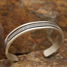 "This beautiful Sterling Silver Bracelet is hand crafted by Navajo Artist B. Morgan Cuff Size: Large -- 6 3/4"" Wrist Width:7/16"" If this item is not available in our Prescott store for immediate shippi"