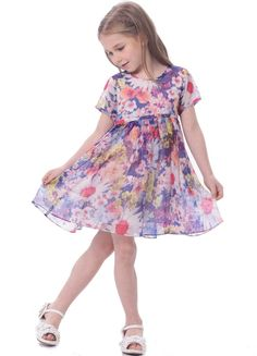 6d257339fc Bonny Billy Girls Short Sleeve Pleated Chiffon Floral Dress 3-4Y Purple.  Available for