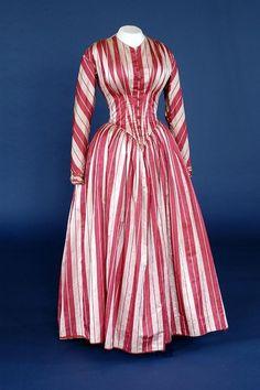 candy cane-striped wedding dress ca. 1849 via The Bowes Museum