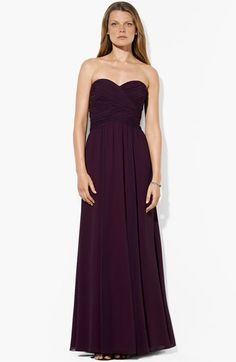 Lauren Ralph Lauren Wrapped Bodice Sweetheart Gown |@Jennie Nolan is this too dark? Because it's pretty and only 200!