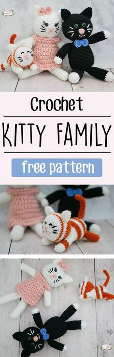Learn to crochet this super cute kitty family - with mom, dad, and baby kitten! This free pattern is simple and quick, great for a beginner amigurumi project!