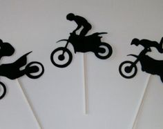 Dirt Bike Cupcake Toppers  **12 in a package**  A perfect topper for the kids party little man party  You will find other products in the store to accent this product.