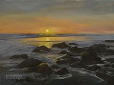 California Seascape Malibu Oil Painting - Radiant Shore, painting by artist Karen Winters