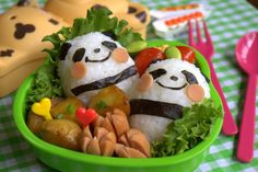 Sweet panda bento box lunch.