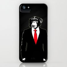 Domesticated Monkey iPhone & iPod Case by Nicklas Gustafsson - $35.00 #chimp #suit #monkey #tie #illustration #digital #office #corporate #chimpanzee #style #classy #cool #iphone #iphonecase #case #iphone6 #iphone6case