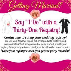 jbarahona: Getting Married? Let me help you set up a Thirty-One Registry or pi… | FindSalesRep.com