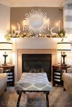 Christmas Merry Mantel Decor- white, silver, gold
