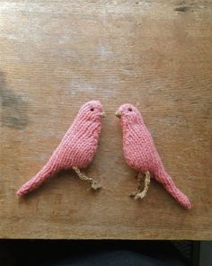 Pair of knitted canaries by tintabernacle on Etsy