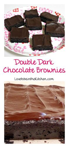 Double Dark Chocolate Brownies- The best homemade brownies! Fudgy brownies topped with a tasty chocolate glaze. These are beautiful and even more delicious!