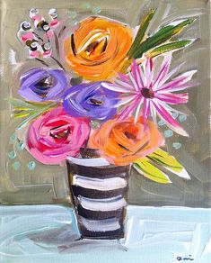 Flower Painting Canvas Roses by DevinePaintings on Etsy, abstract, still life, whimsical, stripes