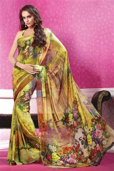 Yellow Georgette Digital Printed Saree