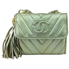 Pre-owned Gold Leather Chanel Shoulder Bag ($2,071) found on Polyvore
