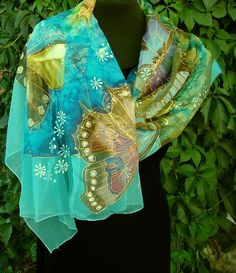 Natural silk shawl - butterfly, turquoise hand painted scarf