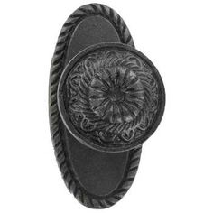 Antique Pewter Iron Knob with Oval Base.  Use these as picture hooks!  Hand picture frames from ribbon.