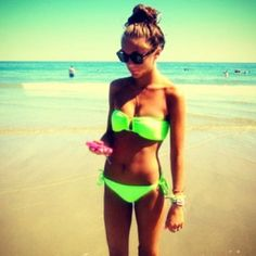 Neon swimsuit!