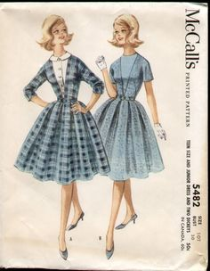 McCalls 5482 Vintage 1960s Mad Men Teen Dress with Two Dickies B30