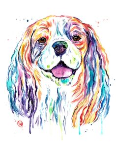 Cavalier King Charles Spaniel - Colorful Watercolor Painting Framed Art Print by Whitehouse Art - Vector Black - MEDIUM (Gallery Cavalier King Charles Dog, King Charles Spaniel, Watercolor Paintings, Watercolors, Cute Dogs And Puppies, Animal Drawings, Dog Mom, Framed Art Prints, Sketchbook Ideas