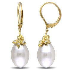 Miadora 10k Yellow Gold Cultured Freshwater Pearl and Diamond Accent Dangle Earrings