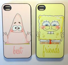 Sponge bob best friend cases for iphone 4/4s, iPhone 5, and Samsung s3. My friend and I are buying these!! Too cuteee!