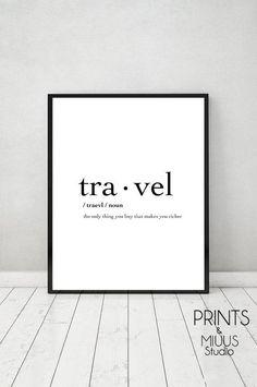 Travel Print Poster Printable Travel by PrintsMiuusStudio on Etsy - Home Decor Ideas! Word Poster, Print Poster, Travel Words, Travel Quotes, Quote Posters, Quote Prints, Quote Art, Printable Poster, Thoughts