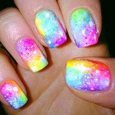 Image viaCheck out this gallery of galaxy nail art if you need inspiration for your next manicure!Image viaSimple, Realistic Galaxy Nails Tutorial, featuring JINsoon Obsidian - This is Rainbow Nails, Neon Nails, Diy Nails, Rainbow Galaxy, Neon Nail Art, Gradient Nails, Diy Manicure, Fabulous Nails, Gorgeous Nails