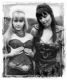 Rene' O'Connor as Gabrielle and Lucy Lawless as Xena, Warrior Princess (SyFy Lucy Lawless, Xena Warrior Princess Cast, Broly Ssj3, Science Fiction, Actrices Hollywood, Actors & Actresses, Poster, Wonder Woman, Celebs