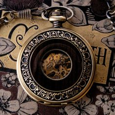 Brass Mechanical Pocket Watch 4 on Fob or Necklace by ragtrader