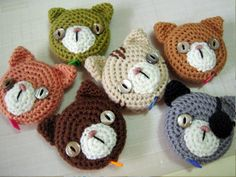 crochet cat tape measure cover