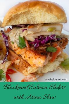 When it's time for a game day treat or just to enjoy a weekend with friends, my Blackened Salmon Sliders with an Asian Slaw is delicious and easy to prepare snack! #askchefdennis