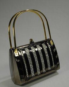 Judith Leiber Style Evening Bag Pewter Rhinestone Structured