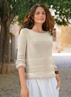 Mag. 161 - n° 32 Pull Modèles, broderie & tricot - Simple & easy basic sweater FREE pattern in French (hva)