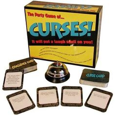 Curses - - Product Description: Cast a laughing spell with the party board game Curses. Players receive curses such Speak like an old grizzled pirate,in or You cannot bend your elbows,in wh Adult Games, Games For Kids, Games To Play, Family Board Games, Fun Board Games, Large Group Games, Adult Party Games For Large Groups, Mind Games, Indoor Games