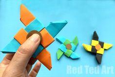Ninja Fidget Spinner DIY - Apenas papel, NO TEMPLATE necessário.  A diversão com Fidget Spinner DIY continua.  Não tem tempo para imprimir um modelo?  Não tenha medo.  Hoje temos um Origami Fidget Spinner DIY para você.  Bem ... é BASADO na Origami Ninja Star ... e logo rapidamente e facilmente transformou-se em Ninja Star Fidget Spinner DIY.  Apreciar!  Ótimo como fazer um tutorial de fidelidade de papel!