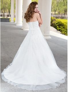 Ball-Gown Sweetheart Court Train Beading Flower(s) Lace Up Strapless Sleeveless Garden / Outdoor General Plus No Spring Fall Ivory Satin Organza Lace Wedding Dress