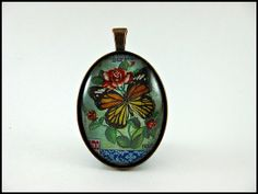 Postage Stamp Pendant / Butterfly & Roses / Cambodia by OhThePost, $30.00