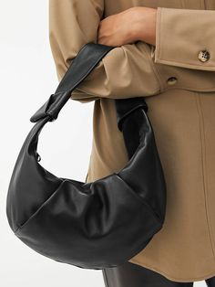 Knot-Detail Soft Leather Bag - Black - Bags & accessories - ARKET GB Soft Leather, Leather Bag, H&m Group, Moon Shapes, Leather Accessories, Hobo Bag, Knots, Black Bags, Detail