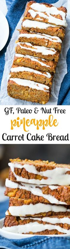 This super soft and moist pineapple carrot cake bread is just as healthy as it is delicious! Kid friendly and perfect for an Easter or Mother's Day brunch, for dessert or as a snack. Made with coconut flour with an optional coconut butter drizzle, this carrot cake bread is nut free, too. Gluten free, dairy free, grain free, refined sugar free.