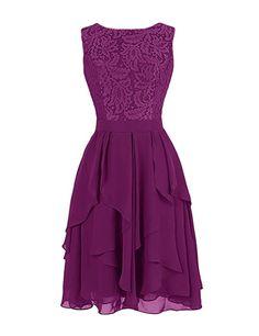 Dresstells Short Chiffon Crew Neck Evening Party Formal Prom Dress Lace Flowers Maxi Dress Grape Size 6