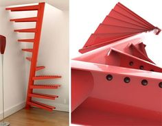 Spiral Stairs for the Tightest Spaces---  Could these be the most space-saving stairs of all time? The brand EeStairs uses a central pole and spiraling steps to fit a staircase into unbelievably tight spaces, making it a great alternative to a loft ladder. This makes it much easier to ascend and descend, especially when your hands are occupied carrying loads of laundry or other items.