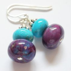Purple+and+Blue+Turquoise+Earrings+Hill+Tribe+by+MagnoliaStudio,+$24.00