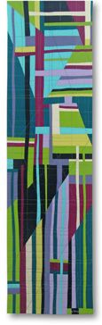"Liz Kuny, contemporary quilt artist.  Composition #2 58½"" x 16"" Cotton fabric. Machine pieced; machine quilted. 2008"