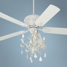Casa Deville Rubbed White Chandelier Ceiling Fan